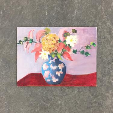 Vintage Floral Painting 1960s Retro Size 12x16 Flowers in Vase + Still Life + Acrylic on Canvas Board + MCM Wall Art and Home Decor by RetrospectVintage215