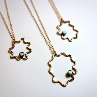 Opal Amoeba Pendant- 14k Gold Filled and Opal Open Squiggle Pendant by RachelPfefferDesigns