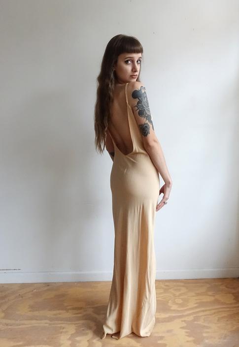c6e72f536094 Vintage 30s Nude Silk Slip Dress/ 1930s Backless Tan Bias Cut X Long ...
