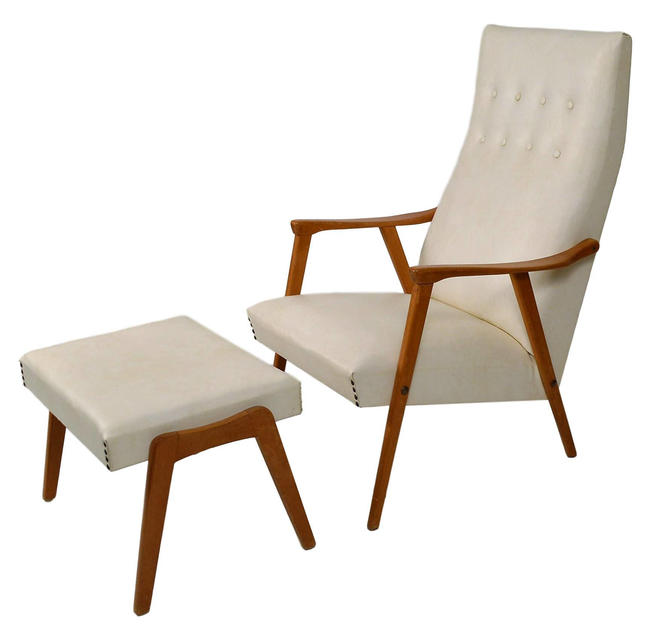 Danish Modern Lounge Chair With Foot Stool by RetroPassion21