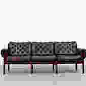 Arne Norell Style Tufted Leather Sofa by Relling