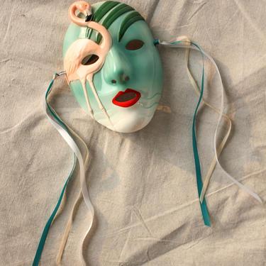 Vintage 80s Vandor Pelzman Designs Flamingo Hand Painted Ceramic Mask   Made in Japan   Boho, Miami, Pastel   1980s Wall Art, Home Decor by TheVault1969