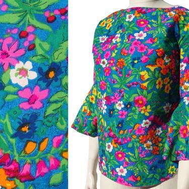 Vintage 50s Joy Stevens Blouse Floral Flutter Sleeves Top M by MetroRetroVintage