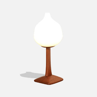 Uno & Östen Kristiansson Sculpted Oak & Frosted Glass Table Lamp for Luxus