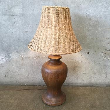 Solid Oak Lamp and Wicker Shade