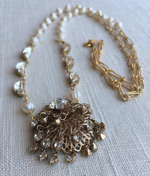 Gold & Glitter [assemblage necklace: vintage earring, vintage rhinestones, freshwater pearl, vintage chain] by nonasuch