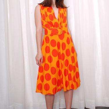 Vintage 1980s Jumbo Polka Dot Swing Dress (Med/Large) by 40KorLess