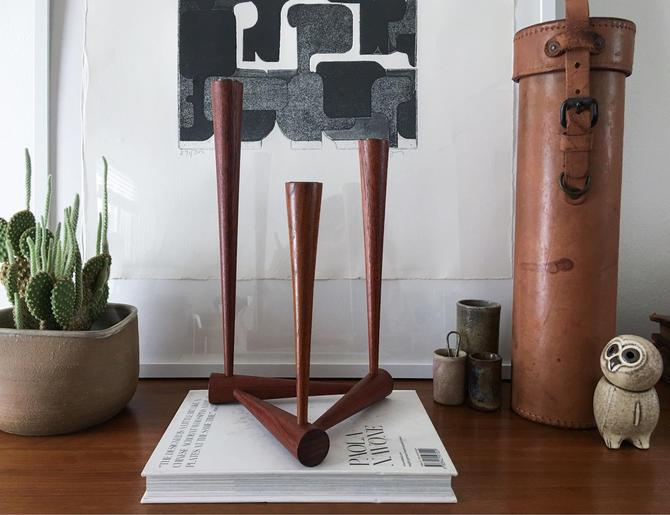 Impressive Triangular Sculptural Candlestick by Turned Handmade Vintage Mid Century attributed to Kaj Franck by CaribeCasualShop