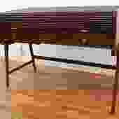 Sligh Lowry Vintage Mid Century Modern Walnut Roll Top Desk