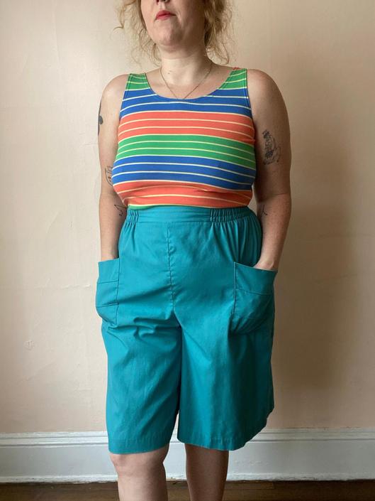 80s Teal Culotte Easy Shorts Plus Size L / XL / 1X by NoSurrenderVintage