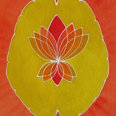 Golden Orange  Lotus Brain  -  original watercolor painting - neuroscience art by artologica