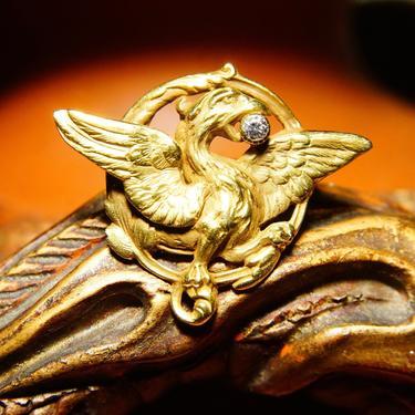 "Vintage 14k Gold Diamond Phoenix Brooch Pin, Yellow Gold Winged Crest Pin, .0625 CT Brilliant Diamond, Rebirth Symbol, 1 1/4"" W by shopGoodsVintage"