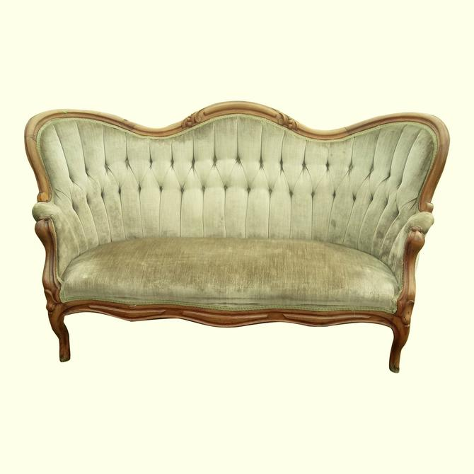 Couch, Victorian, Antique Settee, French Country Decor by 3GirlsAntiques