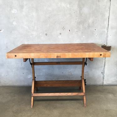 High Top Table with Oak Base & Butcher Block Top