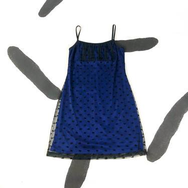 90s Black and Blue Mesh Overlay Spaghetti Strap Mini Dress / Sparkle / Flocked / Mesh / Candy Rocket / Large / Medium / Grunge / Cyber / 00s by badatpettingcats