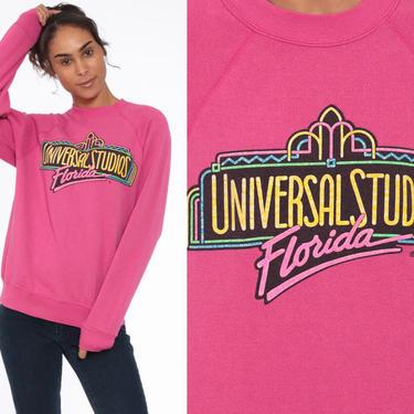 90s Universal Studios Sweatshirt --1990s Florida Raglan Crewneck Pullover Pink Sports Jumper 90s Streetwear Shirt Slouch 1990s Vintage Large by ShopExile