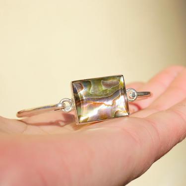 Vintage Sterling Silver Abalone Bangle Bracelet, Silver Clasp Bangle With Iridescent Abalone Shell, Minimalist Bracelet, 925 Mexico Jewelry by shopGoodsVintage