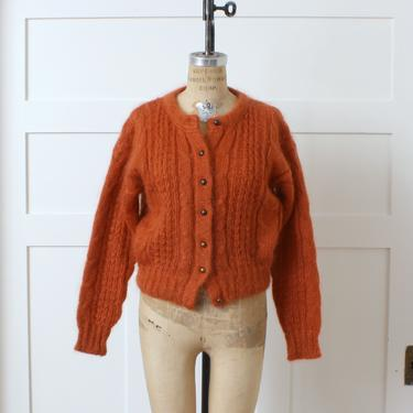 vintage 1990s fuzzy sweater • pumpkin spice orange FORENZA slouchy 90s cable knit cardigan by LivingThreadsVintage