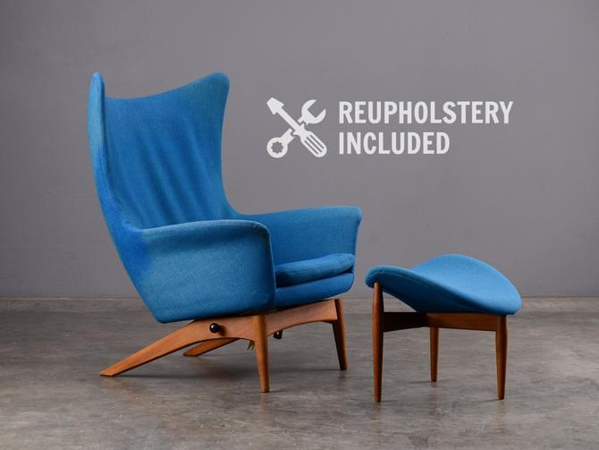 Mid-Century Wingback Recliner and Ottoman HW Klein for Bramin Lounge Chair Danish Modern by MadsenModern