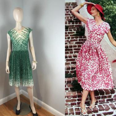 Looking Over That 4 Leaf Clover - Vintage 1950s Green Double Light Cotton Shamrock Floral Pleat Dress - 14 by RoadsLessTravelled2