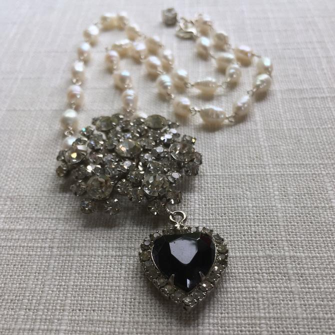 First Class Traveler [assemblage necklace: vintage rhinestones, freshwater pearl] by nonasuch