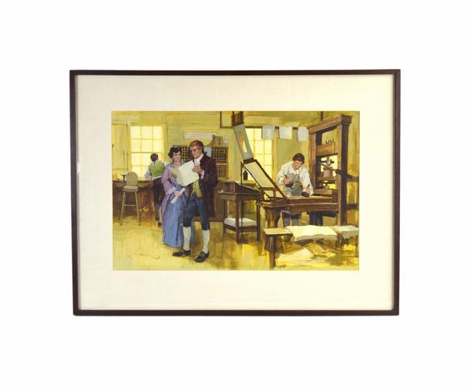 1950's Painting Illustration Art Interior Colonial American Printers Shop signed by PrairielandArt