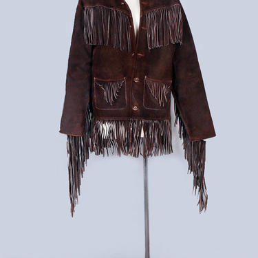"""1960's Brown Suede Vintage Leather Jacket with Fringe - Hippie Woodstock Era, Native American Indian Jacket, Western Coat, 42"""" Chest by Boutique369"""