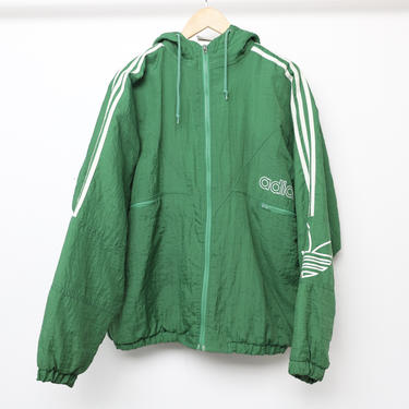 vintage 1990s y2k ADIDAS brand puffer HOODIE parka men's size XL green & white slouchy jacket coat by CairoVintage
