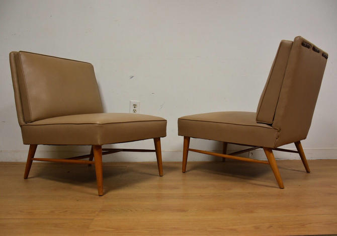 Beige Slipper Lounge Chairs - A Pair by mixedmodern1