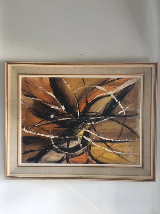 Mid Century Abstract Painting Vintage Original Art  Framed Oil Painting by PursuingVintage1