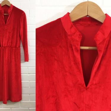 Vintage Red Velvet Dress Stevie Nicks Style 1970s 70s Long Sleeve Boho Festival Halloween Party Vamp Goth Cocktail Medium Large XL Christmas by CheckEngineVintage