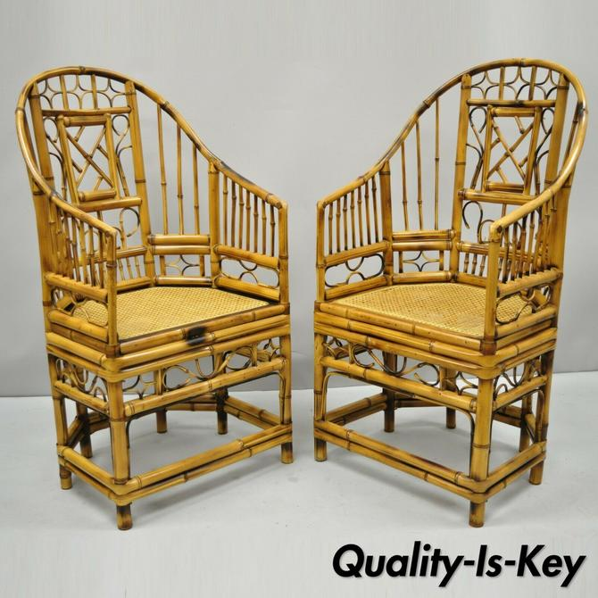 Pair of Brighton Pavillion Style Bamboo & Cane Chinese Chippendale Lounge Chairs