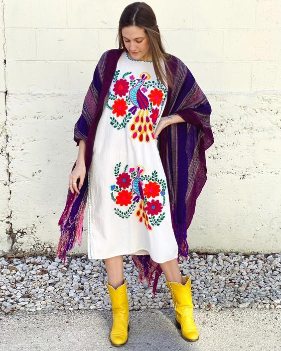 Colorful Peacock Caftan Dress