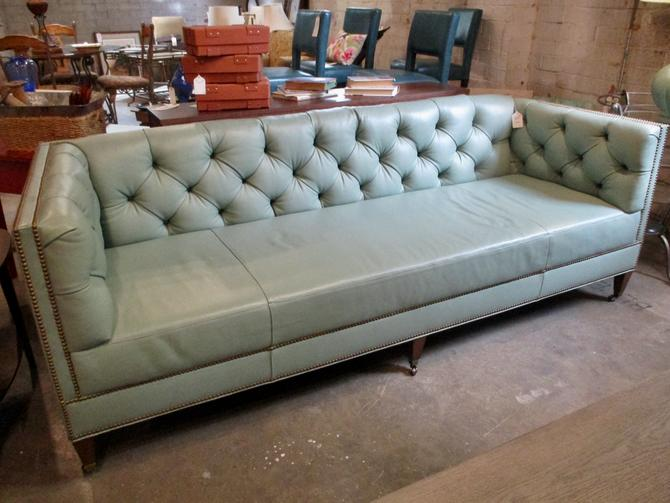 SEAFOAM GREEN LEATHER TUFTED SOFA ON CASTERS BY COUNCIL FURNITURE