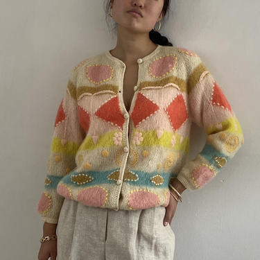 50s hand knit mohair pastel sweater / vintage creamy white pink pastel hand knit embroidered mohair raglan cardigan sweater | M by RecapVintageStudio