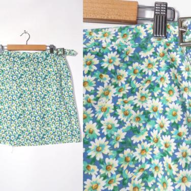 Vintage 90s Daisy Print Cotton High Waist Skort Size L 14 by VelvetCastleVintage