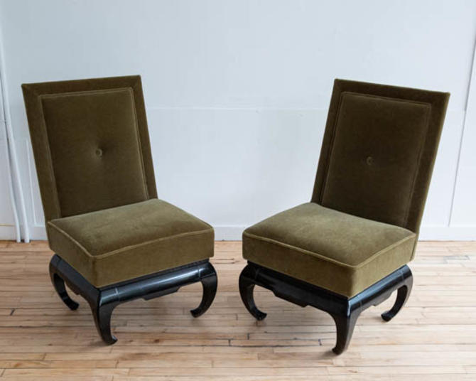 Pair of Baker Style Mohair Slipper Chairs