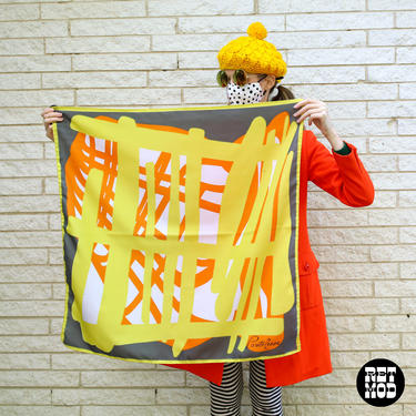 WOW Incredible Vintage 70s Graphic Square Scarf by Pontresa by RETMOD