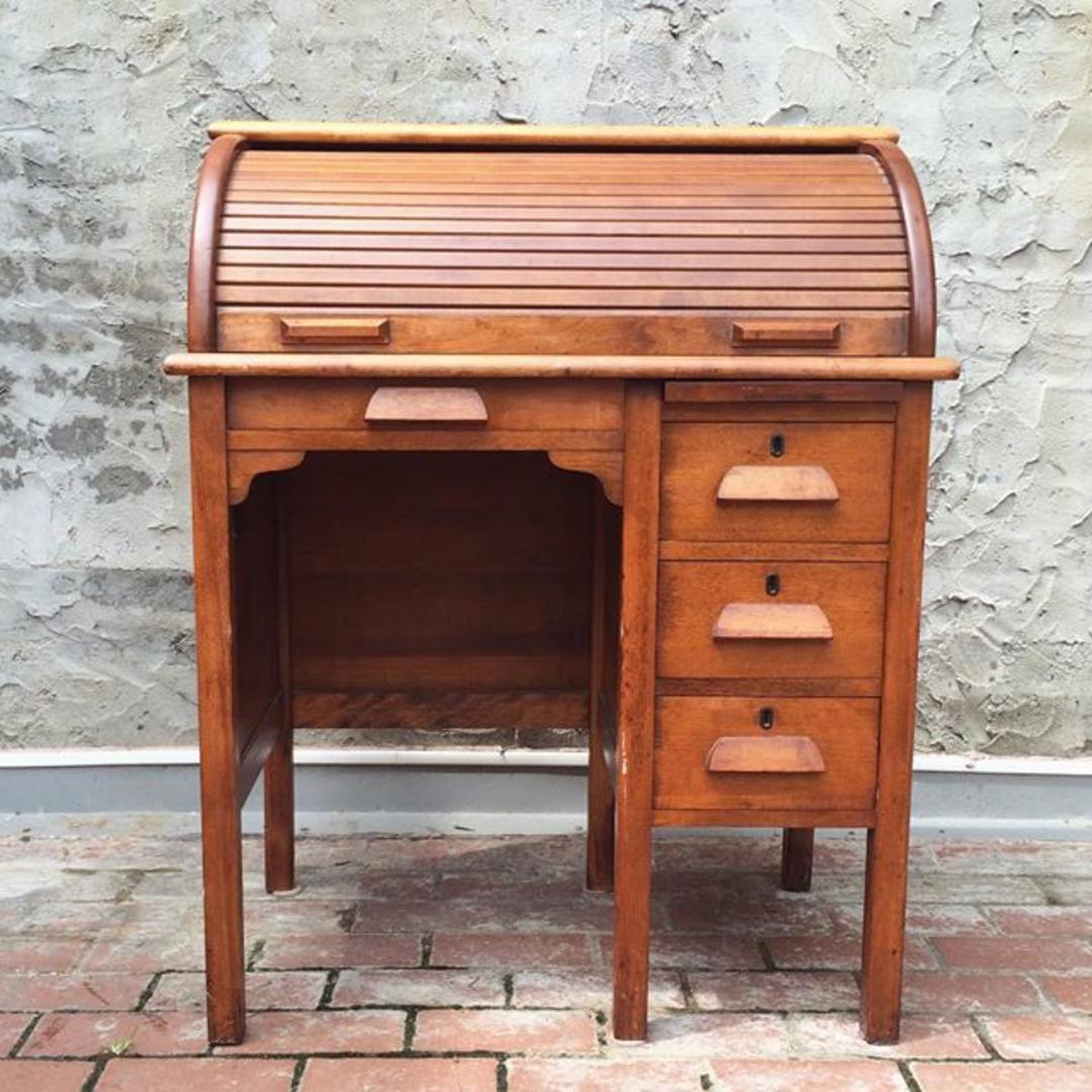 Petite Children 39 S Roll Top Vintage Solid Wood Desk From Bentley 39 S Vintage Furniture Attic
