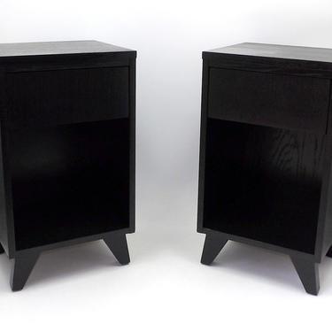 Pair Black Nightstands Night Stands End Tables Bedroom Dresser 1960's Petite LA Period Furniture Mid Century Modern Minimalist Masculine by MakingMidCenturyMod