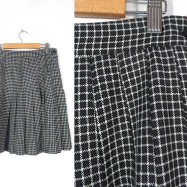 Vintage 80s/90s Black And White Windowpane Plaid Pleated Schoolgirl High Waist Mini Skirt Made In USA Size 28 Waist by VelvetCastleVintage