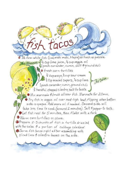 Fish Tacos Illustrated Recipe Comida Latina Art Print