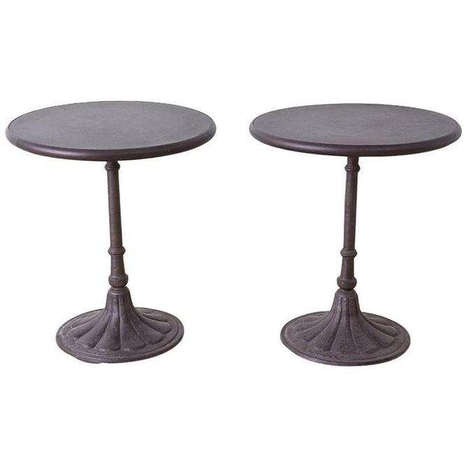 Pair of Parisian Style Iron Bistro Cafe Tables by ErinLaneEstate