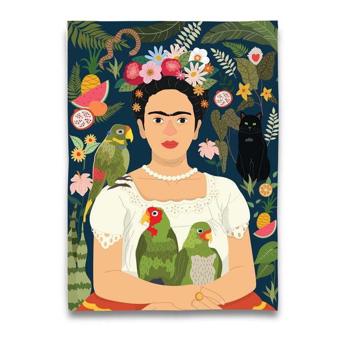 Frida Kahlo and her Parrots Tea Towel
