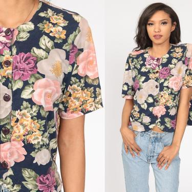 90s Button Up Shirt Floral Blouse Short Sleeve Top Grunge Boho 1990s Vintage Bohemian Blue Pink Medium by ShopExile