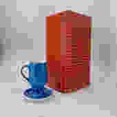 La Gardo Tackett Cups Six Diablo Demitasse Porcelain Espresso Tea Cups + Saucers Vintage Mid-Century Modernist New in Box Schmid Japan by BrainWashington