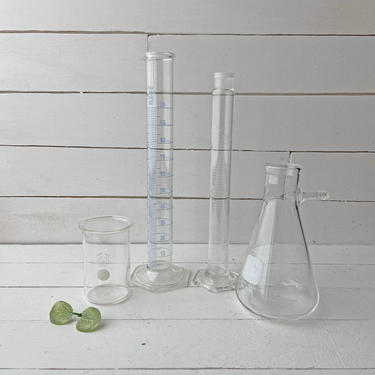 Vintage Chemistry Pyrex And Exax Viles, Flask, Glassware, Beaker, Apothecary Set | Antique Laboratory Set, Science Collectibles, Gift by CuriouslyCuratedShop
