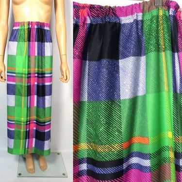 Vintage 60s Plus Size Neon Plaid Elastic Waist Maxi Skirt Size 16 XL by VelvetCastleVintage