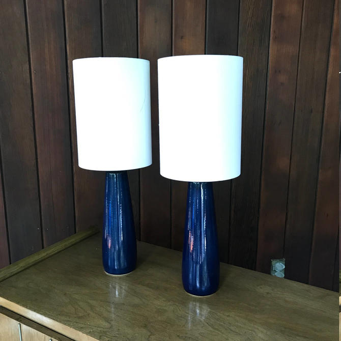 Vintage Mid-Century Lotte and Gunnar Bostlund Blue Porcelain Lamps Pair Denmark Canada Danish Mad Men by BrainWashington