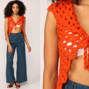 Crochet Vest Knit Top 70s Hippie Boho Vest Orange Open Weave Sheer 1970s Vintage Bohemian Sleeveless Sweater Extra Small xs by ShopExile